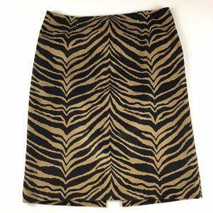 Talbots Tiger Print Pencil Skirt Animal Sz 14